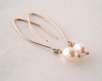 Gold Pearl Earrings - White Pearls - Gift for Women - Simple Earrings - 14K Gold-Filled - Wedding Jewelry - Minimalist Earrings
