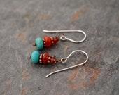 Garnet, Carnelian and Turquoise Earrings