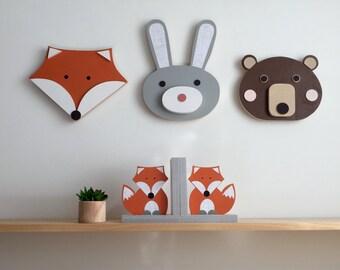Animal Wall Art, Wood Wall Art, Wooden Animal.  Nursery Decor, Bear, Bunny, Fox, Faux Taxidermy, Woodland Nursery, Animal Baby