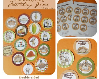Thanksgiving Matching Game-Excellent Activity for Kids of Any Age, Thanksgiving Kids Table