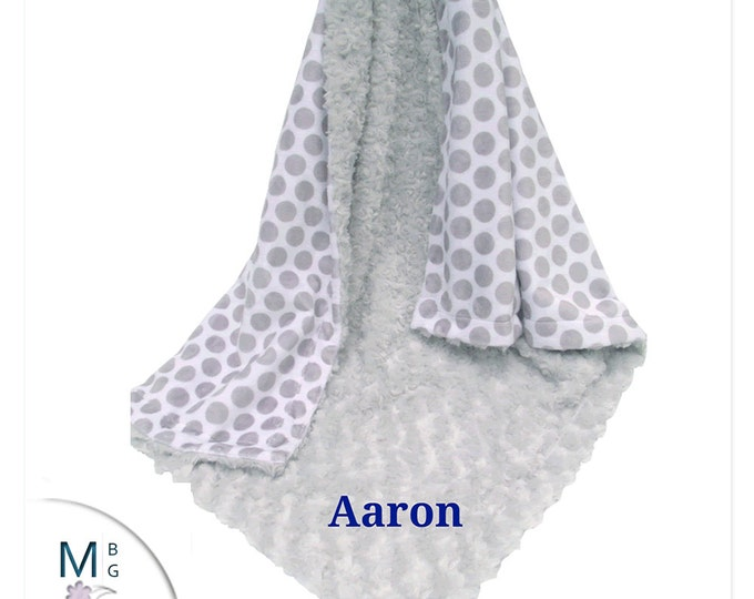 Silver Gray Polka Dot Minky Blanket, Gray Polka Dot Baby blanket, Gray mod Dot Minky Baby Blanket