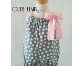 Baby Girl Romper - Baby Pillowcase Romper - Cake Smash Outfit - Gray Romper - Snap Crotch Romper - Baby Jumpsuit - 1st Birthday Romper