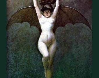 Bat Girl - The Blood of the Vampire - Albert Joseph Pénot ~ Halloween - Vampire ~ Giclee Fine Art Print -