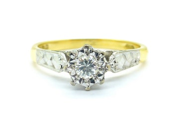 Vintage engagement ring Art Deco style Diamond Solitaire 18ct/18K millegrain engraved 1920s Gatsby Vintage English ring-PERFECT*FREE Ship