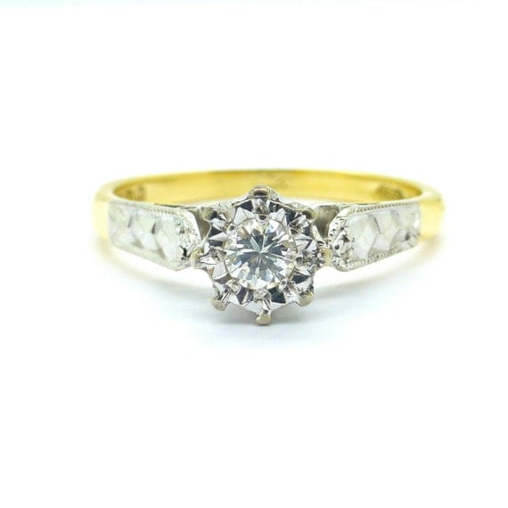 vintage engagement ring deco style solitaire