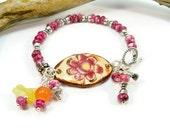 Silver and Dark Rose Bracelet, Pottery Cuff Bracelet,  Yellow and Dark Rose, Ceramic Cuff Bracelet, Rustic Designs, Flower Bracelet