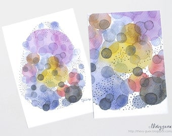 Bubble Dot Multicolor Abstract Watercolor Painting Card - Contemporary Art Print Postcard - Whimsical Dot Illustration Card - Watercolor Dot