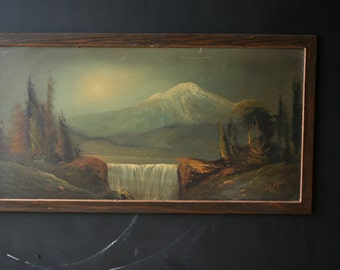 Vintage Landscape Oil Painting Original Antique Primitive On Canvas Mountain and Waterfall Bohemian Decor With Frame From Nowvintage on Etsy