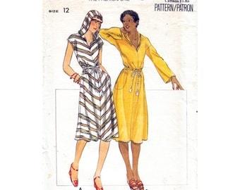 Vintage Hooded Dress Pattern Butterick 5248 Fit & Flare Hoodie Dress Long Sleeves, Cap Sleeve Knit Dress Size 12 Women Sewing Pattern UNCUT