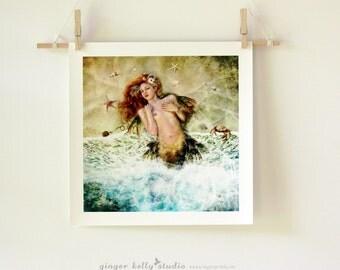 Mermaid Sea Siren Water Nymph Illustration by Ginger Kelly 'Washed Ashore' Art Print, Mermaid on Beach, Damsel in Distress, Fairy Tale Art