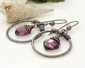 Purple quartz and copper hoop earrings, big purple solid copper wire wrapped earrings