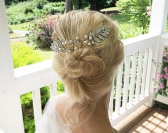 Wedding LEAF Branch Hair Comb Rustic Romantic Woodland Whimsical Nature Bridal White  LEAF Fairy Wedding