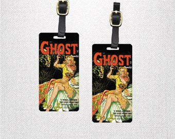 Luggage Tags - Printed Personalized Backs Custom Luggage Tag - Single Tag or Set Available  - Vintage Comic Horror Ghost Comic Retro Geek