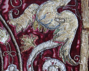 17th or earlier Italian Metallic Embroidered and Appliqued Velvet Armorial Panel