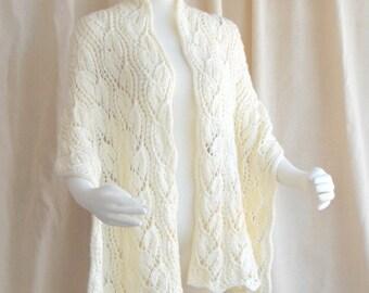Bridal Shawl Hand Knit Shawl, Knit Wrap, Knit Stole, Knit Lace Shawl Cream White Merino Wool Wedding Shawl