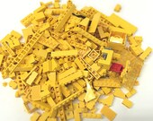 1980's LEGO Toy Blocks Lot, Yellow - 300+ Individual Pieces - Vintage 1980's LEGOS Kids Building Construction Toys