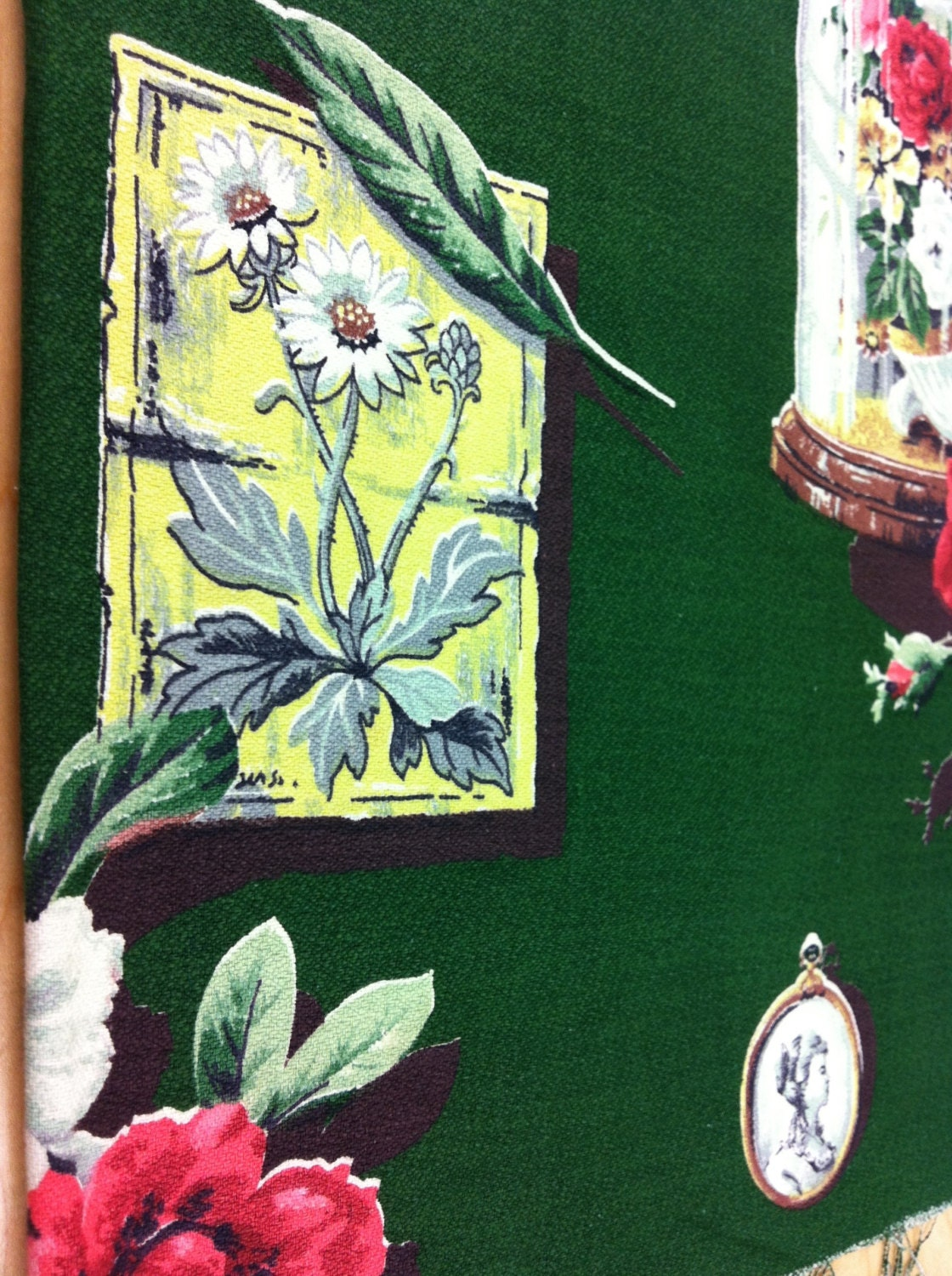"""40s A Vintage Tower Vat Print """"Design Family Treasures"""" /All Cotton Barkcloth /Multi Colors on Evergreen Grnd"""