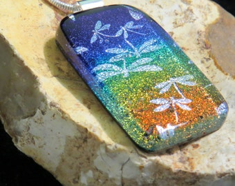 Dichroic Glass Pendant - Fused Glass Jewelry - Dichroic Glass - Dichroic Jewelry - Dichroic Glass Dragonfly Pendant - Gay Jewelry