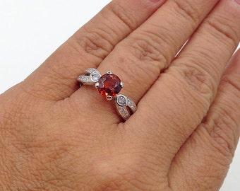 Garnet Diamond Engagement Ring, Garnet Bridal Ring, Mandarin Garnet Ring, 18K WG Stone Ring, Stone Ring, Spessartite Garnet Stone,Appraisal