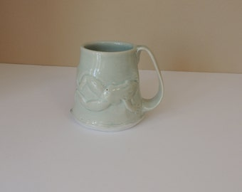 Funny Silly Handmade Light Green Frog Ceramic Mug. Unusual Soft Green Leaping Lizard Cup. Unusual Artisan Large Untippable  Mug