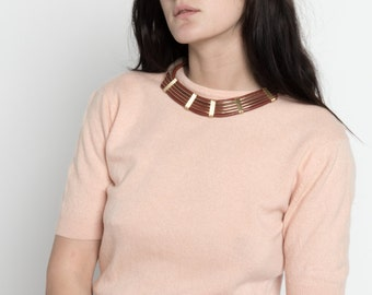 Vintage 80s Maroon and Gold Leather Modern Choker Necklace