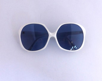 80's Vintage Mod Sunglasses Frames Unisex 1980s White Large Frames #M193