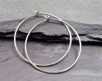 Sleek Titanium Hoops. Hammered Titanium Earrings for Sensitive Ears. Hypoallergenic Pure Titanium. Choose Size & Gauge. Burnished Smooth.