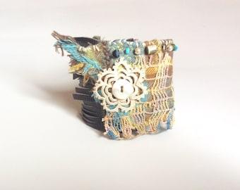 Textile Art Cuff Bracelet, Boho Bracelet, Blues Brown and Soft Yellow, Fiber Art Bracelet, One of a Kind