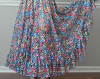 Colorful Lace Long Ruffle Full Circle Skirt S-XL