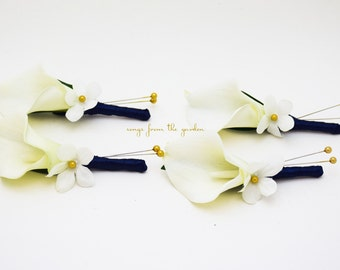 Real Touch Calla Lily Stephanotis Boutonniere Groom Groomsmen - Navy Ribbon Gold Accents - Wedding Prom Homecoming Boutonniere Buttonhole