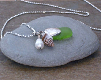 Necklace, Beach Glass Freshwater Pearl Sea Shell Silver Charm Necklace, Beach Charm Necklace, Beach Glass Jewelry, Shell Necklace