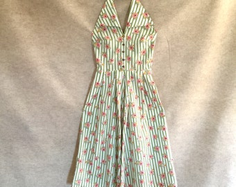 Vintage 50's Halter Sundress, White Cotton 50's Dress with Green Stripes, Pink Roses, Rockabilly, XS, Waist 25