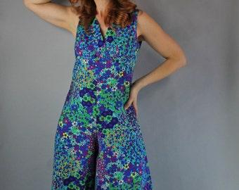 Vintage 60s 70s Women's Bright Psychedelic Purple Green Mod Floral Op Art Spring Summer Music Festival Hippie Romper Jumpsuit