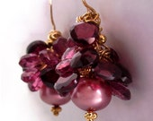 18K Gold Tourmaline and Garnet Heart Earrings