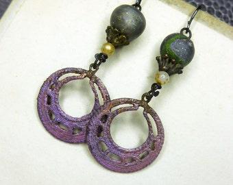 Rustic Beaded Earrings -  Spaceport Assemblage Earrings - Iridescent Purple Hoops, Starry Polymer Clay Beads, Shabby Pearls