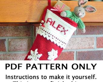 Knitting Pattern - Christmas Stocking Knitting Pattern - Second Annual Fiddlestyx Christmas Stocking -  the CRYSTAL Xmas Stocking Pattern