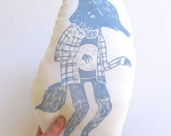 Plush Werewolf Pillow. Hand Woodblock Printed. Customizable Colors. Made to Order.