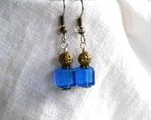 Blue Earrings Cube Earrings Square Earrings Dangle Earrings Drop Earrings Beaded Earrings Surgical Steel Hooks Bronzed Earrings
