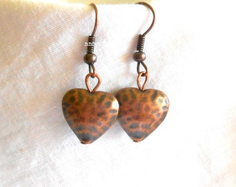 Antiqued Copper Heart Earrings ...............................  Hammered Antiqued Dangle Drop Puff Heart