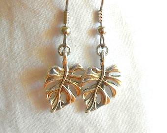 Leaves Earrings Leaf Earrings Antiqued Silver Earrings Charm Earrings Fallen Leaves Surgical Steel Earrings