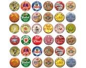 Vintage BEER BOTTLE CAPS Craft Circles - Printable Old Beer Ale  Bottle Caps- Instant Download Digital Bottlecaps Collage Sheet 1,1.5,2 in