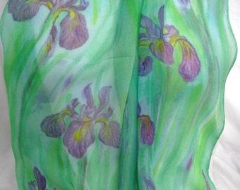 silk scarf chiffon hand painted Wild Iris long unique green lavender purple wearable art women luxury handmade