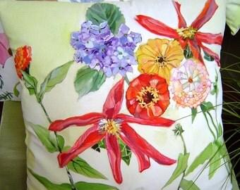 A Taste of Summer 15x15 Pillow - Hand Painted Garden Dahlia Zinnia Blue Hydrangea Cottage Chic Pillow Original Art for Your Home