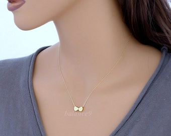 Tiny Heart Necklace, Two hearts necklace, love, dainty small charm gold filled chain, Bridesmaid wedding, everyday jewelry, by balance9