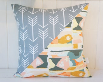 Patchwork Pillow Cover, 20x20, grey arrows and abstract painterly