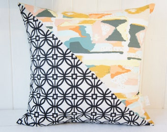 Patchwork Pillow Cover, 20x20, black and cream trellis and abstract painterly