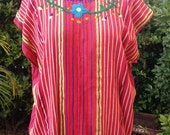 vintage peasant blouse Guatemalan Huipil woven tunic textile embroidered fringe top tribal boho fabulous one size