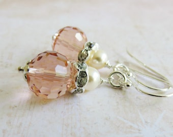 Sterling silver peach earrings, pearl earrings, peach wedding jewelry, bridal jewelry, crystal earrings, dangles