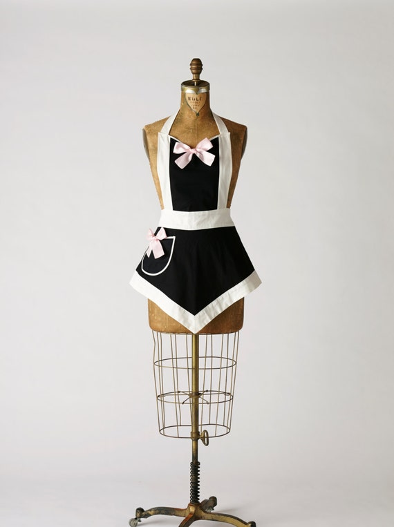 Sexy Modern French Maid Apron Veronica Apron in Reverse Colors