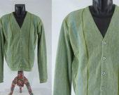 Vintage Sixties Men's Cardigan - 1960s Green Heather Men's Sweater - 60s Striped Men's Cardigan - Large XL
